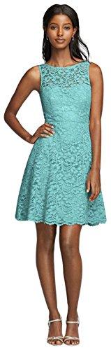 David's Bridal Short Sleeveless All Over Lace Bridesmaid Dress Style F18031, Spa, 4 by David's Bridal