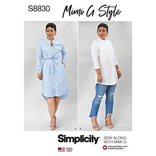 Simplicity US8830H5 Pattern S8830 Mimi G Miss Petite Shirt Dress, H5 (6-8-10-12-14) (Shirt Misses Dress)