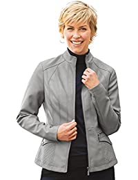 Women's Faux Leather Jacket Front Zip Quilted Shoulders and Pockets
