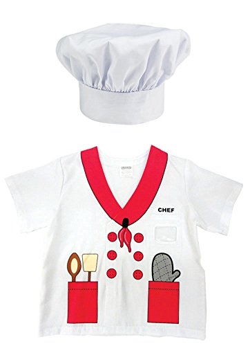 Aeromax My 1st Career Gear Chef Shirt and Chef Hat (2 Piece Bundle) (Make Believe Fancy Dress)