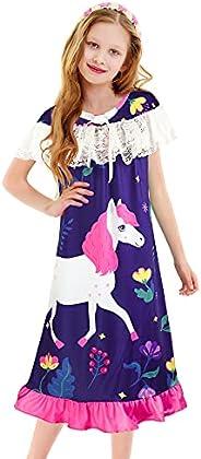 ZukoCert Girls Nightgown Pajamas Fille jaquette de nuit fillette Sleep Dress Nightgown Nightie 3-9 Years/ans