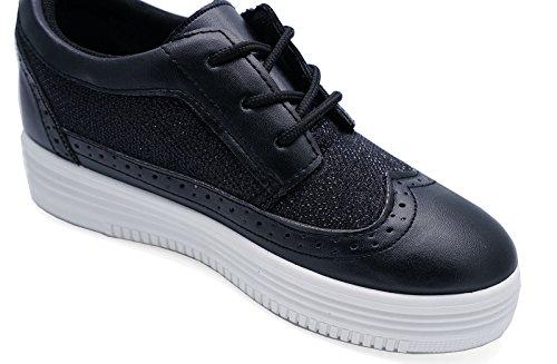 Ladies Black Flat Loafers Trainers Platform Brogue plimsolls Pumps Shoes Sizes 3-8 JZllI
