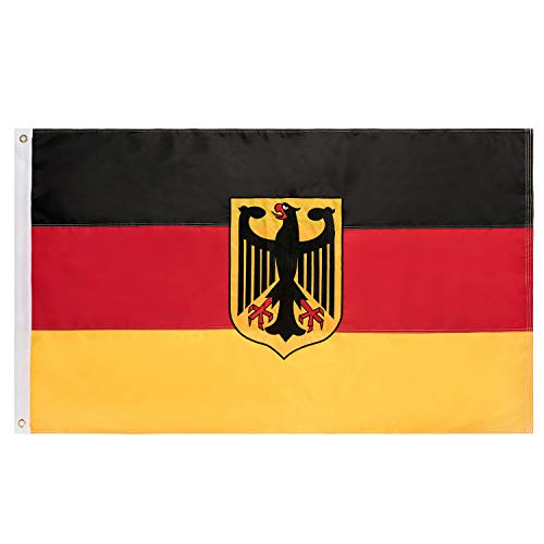 - Lixure Germany Flag with Eagle 3x5FT German Flag Nylon-Embroidered Pattern Sewn Stripes-4 Rows Lock Stitching Flags Brass Grommets 210D Nylon Banner