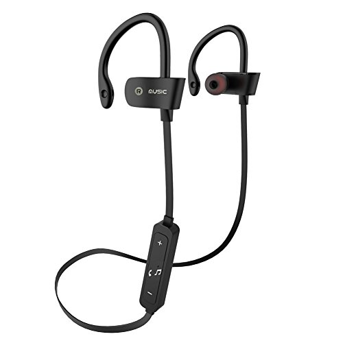 Bluetooth Headphones -Bchway V4.1 Wireless Earbuds 5 Hr Playtime Sport In-Ear Sweatproof Earphones with Mic Premium Bass Sound Headset Noise Reducing for Gym Running Workout (Black)