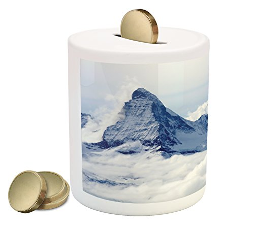 (Ambesonne Mountain Piggy Bank, Scenery of Mountain Summit Magical Dreamlike Scenery Natural Paradise Pattern, Printed Ceramic Coin Bank Money Box for Cash Saving, Black and White)