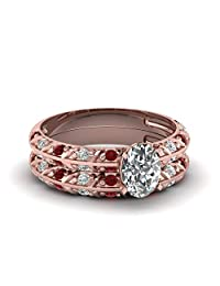 Shinediamond 14K Rose Gold FN Knife Edge Wedding Ring Set with 0.99 Ct Oval Cut CZ & Red Ruby