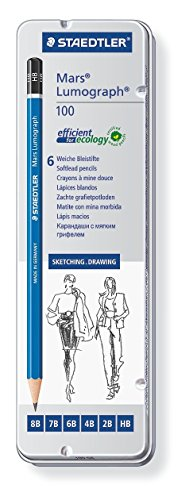 Lumograph Pencil (Staedtler Lumograph Graphite Drawing and Sketching Pencils 100G6, Set of 6 Degrees in an Attractive Storage Tin (100G6))