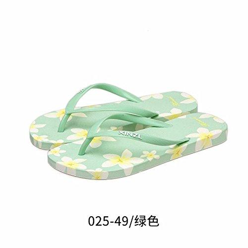 LIUXINDA-XZ Nuevos Productos de Moda española Verano Flip Flops, Las Mujeres Zapatillas de Playa, marcar el Suelo antirutsch Estudiantes, Zapatillas, de Fondo Plano. Verde.