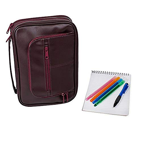 X-Large Burgundy Leather Like Reinforced Bible Cover Case with Handle and ()