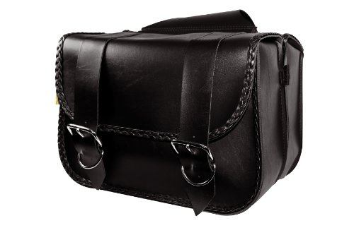 Dowco Willie & Max 58330-20 Braided Series: Synthetic Leather Large Straight Motorcycle Saddlebag Set, Black, Universal Fit, 15 Liter Each/30 Liter Total Capacity ()