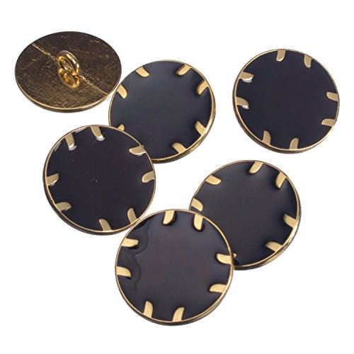 Zinc Diecasted Metal Shank Button - Gold Edging with Epoxy - 36 Line - Black (Edging Gold)