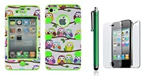 Bloutina Apple iPhone 4 4s - Combo Pack (Case + Screen Protector + Stylus) - Cute Owls Green Gel Realtrees hunting camouflage...