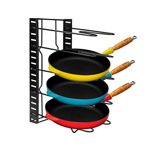 Pot Organizer,Cookware Pan Organizer Holder Rack,Heavy Duty Adjustable Cabinet Pantry Pot Lid Organizer Holder Rack Storage for Cutting Board Roasting Frying Pans,Total 5 Compartments By Meleg (Roasting Board)