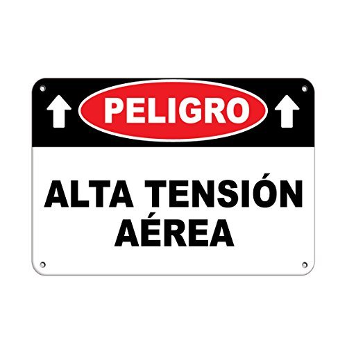 Personalized Metal Signs for Outdoors Peligro Alta Tensi243;n A233;rea Hazard Sign Hazard Labels Aluminum METAL Sign 7 X 10 Inch