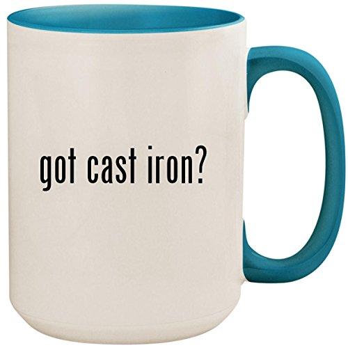 got cast iron? - 15oz Ceramic Colored Inside and Handle Coffee Mug Cup, Light Blue