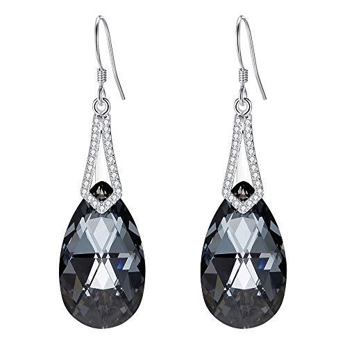 EleQueen 925 Sterling Silver CZ Teardrop Bridal Hook Dangle Earrings Grey-black Made with Swarovski - Earrings Swarovski Black Crystal