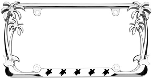 Turtle Animal Palm Tree Design Chrome Metal Auto License Plate Frame Car Tag Holder with car banner ()