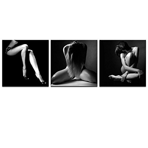 Sea Charm- Sexy Naked Girl Canvas Wall Art Black and White Woman Body Art Canvas Painting Giclee Artwork for Bedroom Wall Decoration