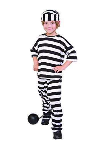 Convict Clown Child Costume (OvedcRay Child Prisoner Convict Boy Costumes Jailbird Black White Stripe Kids)