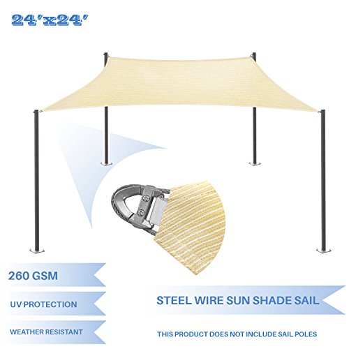 E K Sunrise Reinforcement Large Sun Shade Sail 24 x 24 Rectangle Heavy Duty Strengthen Durable Outdoor Garden Canopy UV Block Fabric 260GSM – 7 Year Warranty – Beige