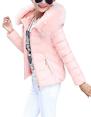 Parka Veste Fourrure Hoodie Hiver Brinny Fille Rembourr Manche Doudoune Long Pink faux Blouson Capuche Jacket Veste Manteau Chaud Femme OwpZzI
