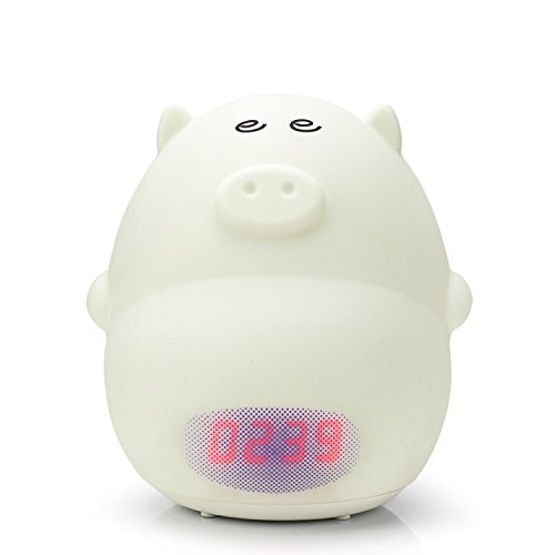 GoLine Alarm Clock Night Light, Cute Pig Soft LED Multicolor Wake Up Lamp for Kids Bedroom, 2 Alarms, 3 Sounds, 7 Colors, Tap Control, Temperature Display, Easy Setting, AC/Battery Powered.(NL014) by GoLine