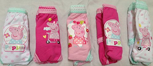 Peppa Pig Age Size 12 Months 1-1.5 Years 100% Cotton Set of 5 Girl Briefs Panties Design May Differ