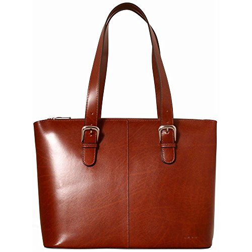 Jack Georges Milano Madison Avenue Leather Business Tote for Laptop in Cognac - Milano Ladies Computer Bag
