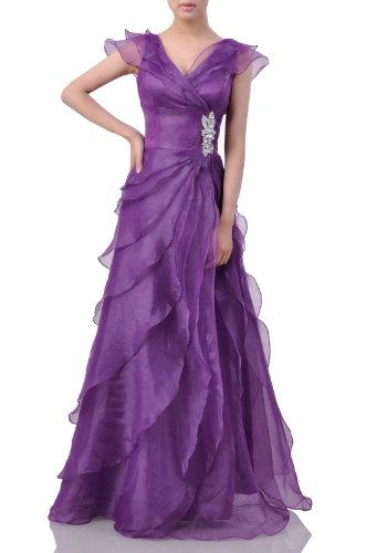 Formal Organza Ruffles Straps Wedding V neck A-line Long Prom Homecoming Dress , Color Grape Purple ,12