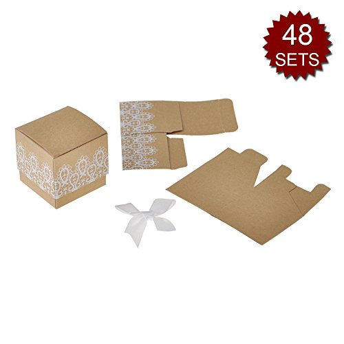Aspire Set of 48 Brown Gift Boxes Craft Paper Wedding Candy Box with Lace 2'' x 2'' x 2'' Party Favors-Brown-48 SETS by Aspire