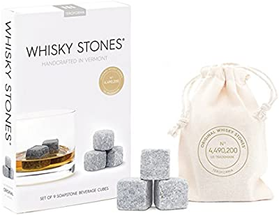 "Teroforma CLASSIC Whisky Stones - Handcrafted Soapstone Beverage Chilling Cubes, Set of 9 (Natural, 0.88"")"