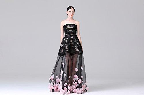 mit Schleppe WD15429 Abendkleid Brautkleid Schwarz Maßanfertigung Spitzenapplikationen Design Lactraum Glamouröses Tüllrosen qanHwACxW