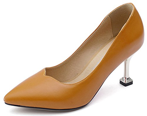 On Stiletto Mid Slip Womens Work Toe Pumps Formal Shoes Heel Yellow Low IDIFU Pointed Top AwaStqA