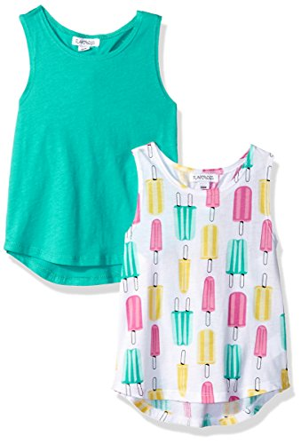 Flapdoodles Baby 2 Pack Girls top Set with Printed and Solid Tank, Teal, 24 Months - Flapdoodles Baby Girl