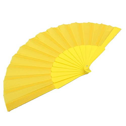 Yellow Vintage Fancy Folding Fan Hand Plastic Dance Fans Party Supplies For Gift