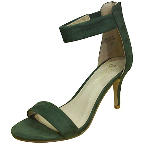 Bella Marie Womens Adora-12 Open Toe Suede Ankle Strap Sandals Olive Green Suede ucGYH