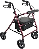 ProBasics 4 Wheel Medical Rolling Walker with Wheels, Seat, Backrest and Storage Pouch - Rollator Walker for Seniors- Durable Aluminum Frame Supports up to 300 lbs, 8-inch Wheels, Burgundy