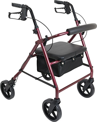 (ProBasics 4 Wheel Medical Rolling Walker with Wheels, Seat, Backrest and Storage Pouch - Rollator Walker for Seniors- Durable Aluminum Frame Supports up to 300 lbs, 8-inch Wheels, Burgundy)