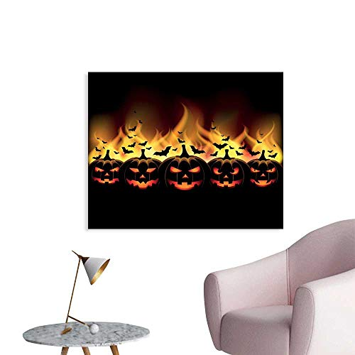 J Chief Sky Vintage Halloween Wall Paintings Happy Halloween Image with Jack o Lanterns on Fire with Bats Holiday Print On Canvas for Wall Decor W32 -