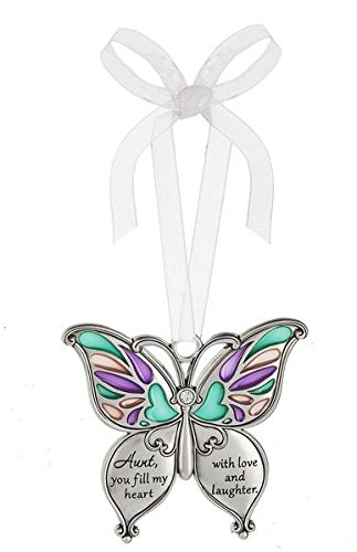 Ganz Butterfly Wishes Colored Ornament - Aunt, you fill my heart with love and laughter