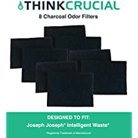 8 Replacements for Joseph Joseph Charcoal Odor Filters Fit Totem Intelligent Wastebaskets & Trash/Garbage Cans, Fits 13 & 16 Gallon, Compatible With Part # 30005, by Think Crucial