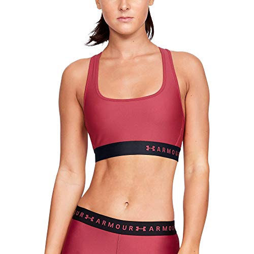 Under Armour Women's Armour Mid Crossback Sports Bra, Impulse Pink (671)/Impulse Pink, X-Large (Bra Under Mesh Armour)