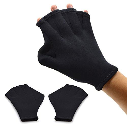 Webbed Gloves/Swim Gloves,Freehawk Neoprene Aqua Fit Swim Training Gloves Swim Gloves Aquatic Fitness Water Resistance Training Force Gloves Paddle for Swimming Diving Surfing Water Sports (Black) Webbed Aqua Gloves