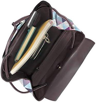 Zaino Donna Vera Pelle Geometrico 57 Borsa Da Viaggio a Grande Capacità, Borsa a Tracolla Lady Fashion Backpack Daypack Per Scuola Viaggio Lavoro