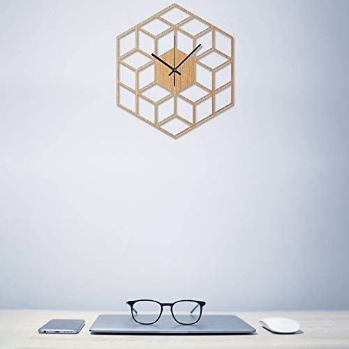 CUHAWUDBA 1 Pcs Hexagone en Bois Horloge Murale Avanc/éE Europ/éEnne Minimaliste Lignes G/éOm/éTriques Exquis Artistique Silencieusement Horloge pour Caf/é Accueil