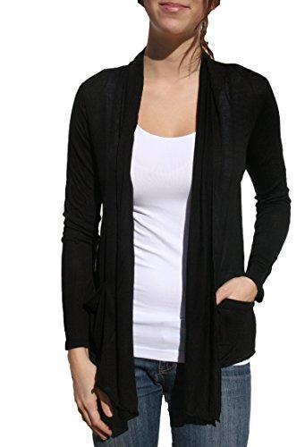 ACTIVE BASIC Blue City Womens Basic Comfortable Soft Easy Wear Cardigan Shawl Top (XXL, Black)