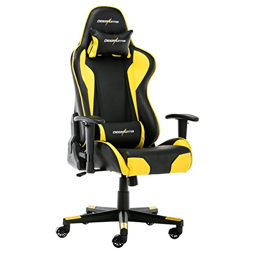 Deerhunter Gaming Chair, Leather Office Chair, High Back Ergonomic Racing Chair, Adjustable Computer Desk Swivel Chair with Headrest and Lumbar Support (Yellow&Black) (Chairs Yellow Desk)