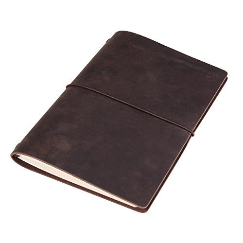 Refillable Leather Journal Writing Diary - A5 Travelers Notebook with Dot Grid Pages (Handmade, Dark Brown)
