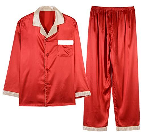 Respeedime Autumn Home Service Silk Pajamas Summer Men 's Long Sleeved Trousers Sets Sleepwear Deep Red Size XL -
