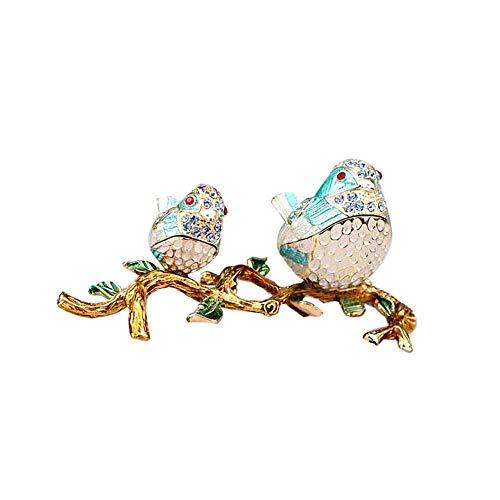 Accent Ring Diamond Blue Enamel (Unicoco Enamel Trinket Box Birds Branch Design Blue Rhinestone Jewelry Organizer Home Decor Enamel Jewelry Box)